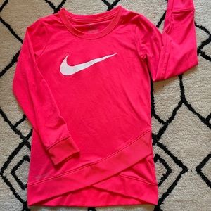 Girls Hot Pink Glitter Nike Dri Fit Long Sleeve